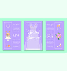 bridal shower invitation set banners vector image