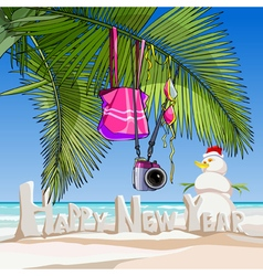 Cartoon greeting happy new year on a tropical vector