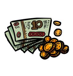 cartoon image of cash icon money symbol vector image