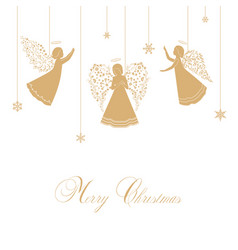 Christmas angels with ornamental wings vector