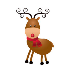 christmas cute reindeer scarf standing animal vector image