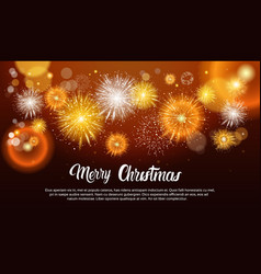 Christmas fireworks bursting and sparkling against vector