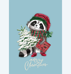 christmas woodland cute forest cartoon raccoon vector image
