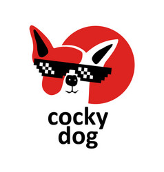 cocky dog logo in black glasses dude confident vector image