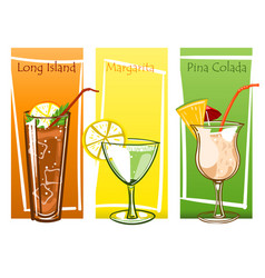 Coctails set free hand drawn vector