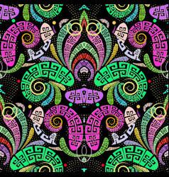 colorful greek style paisley seamless pattern vector image