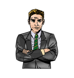Comic man business with suit tie design vector