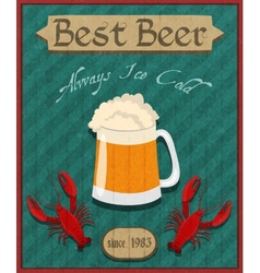 Crawfish and beer retro poster vector image