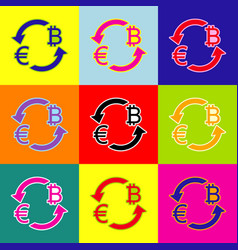 currency exchange sign euro and bitkoin vector image