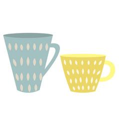 cute blue and yellow cups isolated on white vector image