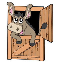 Cute donkey in stable vector