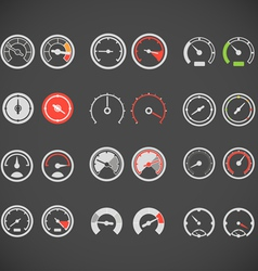 Different slyles of speedometers color collection vector image