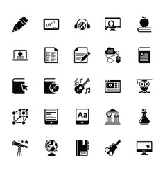 Elearning glyph icons vector