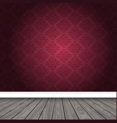 Empty room with damask wallpaper and wooden floor vector