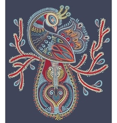 ethnic folk art of peacock bird with flowering vector image