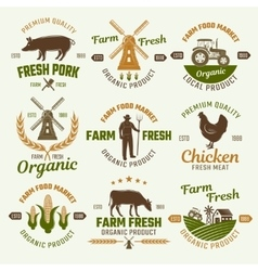 Farm Products Retro Style Emblems vector