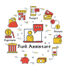 finance and banking concept of bank assistant vector image