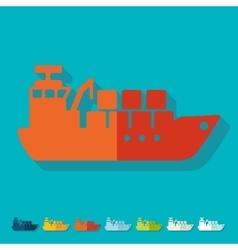 Flat design cargo ship vector