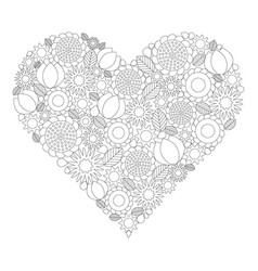 Floral heart coloring book page black and white vector