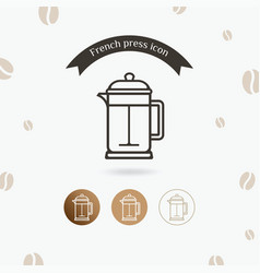 French press icon vector