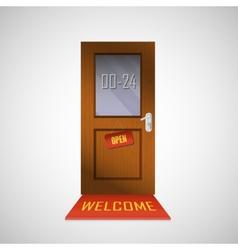 Front door is open around clock with a sign vector