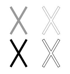 gebo rune gift talent sign icon set grey black vector image