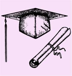 Graduation cap degree diploma vector