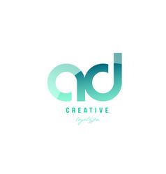 Green gradient pastel modern ad a d alphabet vector