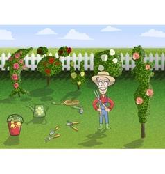 Happy gardener character at work vector