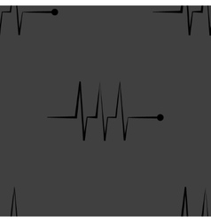 Heart rhythm web icon flat design Seamless gray vector
