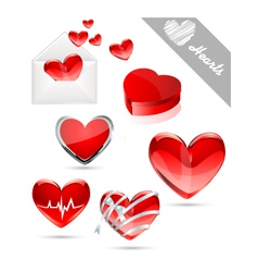 Hearts valentines icons vector