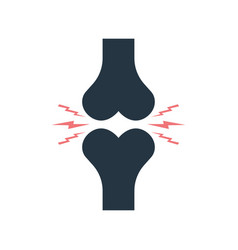 icon bone joint with pain arthritis knee vector image