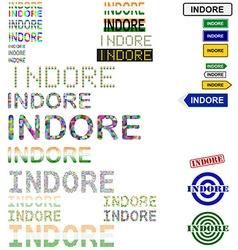 Indore text design set vector
