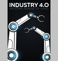 Industry 40 banner with robotic arm smart vector