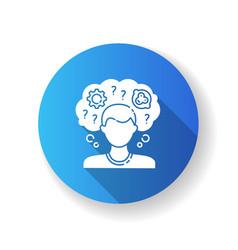 Intellectual disability blue flat design long vector
