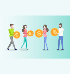 Investor with coins people holding money vector