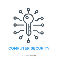 It security line flat icon vector