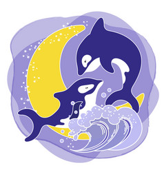 Killer whale love cartoon animal vector