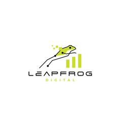 leap frog tech digital chart statistics logo icon vector image