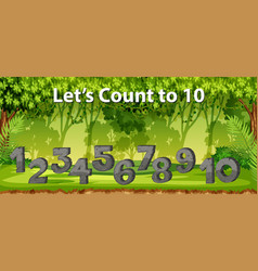 Lets count to 10 jungle scene vector