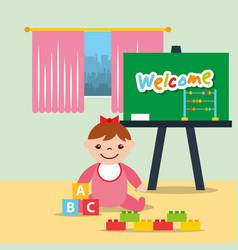 Little girl classroom kinder chalkboard and blocks vector