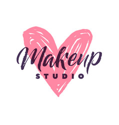 Makeup studio logo stroke pink heart vector