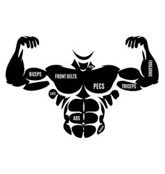 Male athletic black body silhouette vector