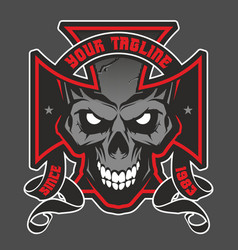 maltese cross with a skull vector image