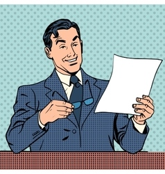 man reads document report businessman scientist vector image
