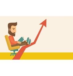 Man relaxing in growing business vector image