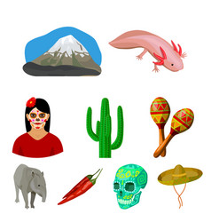 mexico country set icons in cartoon style big vector image