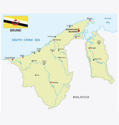 Nation brunei map with flag vector