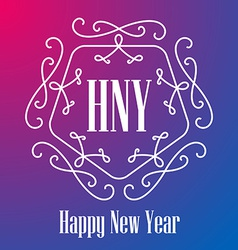 New year festive card monograms style lineart vector