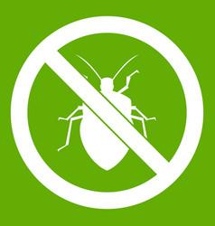 no bug sign icon green vector image